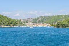Pequeña ciudad histórica de Skradin en el río Krka en Croacia fotos de archivo libres de regalías