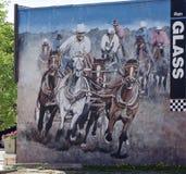 Pequeña ciudad mural Canadá de la pared de Chuckwagon foto de archivo