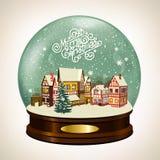 Pequeña ciudad nevada Imágenes de archivo libres de regalías