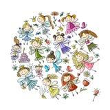 Pequeña colección linda de las hadas, bosquejo para su diseño libre illustration