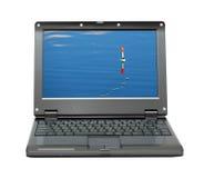 Pequeña computadora portátil con temas de la pesca fotos de archivo