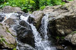 Pequeña corriente de la montaña de la cascada Fotos de archivo libres de regalías