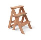 Pequeña escalera casera de madera aislada en blanco con la trayectoria de recortes Imagen de archivo