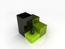 Pequeña esfera negra en barra verde Imagenes de archivo