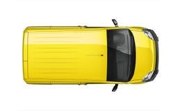 Pequeña furgoneta del amarillo de la entrega - visión superior Imagen de archivo
