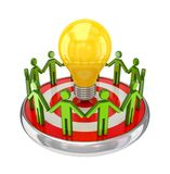 pequeña gente 3d alrededor de una lámpara. Foto de archivo libre de regalías