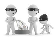 pequeña gente 3d - el ladrón quiere robar un diamante libre illustration