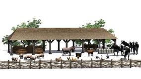 Pequeña granja con los animales en un fondo blanco Imagen de archivo