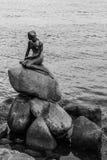 Pequeña guarida famosa Lille Havfrue de la estatua de la sirena de Copenhague, Dinamarca Foto de archivo