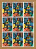 Pequeña hoja de los sellos de británicos Royal Mail que representan los bloques de madera del juego de los niños Fotografía de archivo