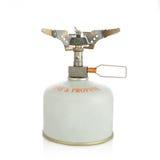 Pequeña hornilla portable de la gas-estufa aislada Foto de archivo