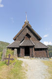 Pequeña iglesia del bastón en Noruega Foto de archivo libre de regalías