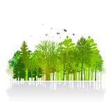 Pequeña ilustración de madera del parque verde stock de ilustración