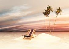 Pequeña isla con las sillas de cubierta en la puesta del sol Imagen de archivo