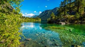 Pequeña isla en el medio de las aguas cristalinas del lago pavilion en el parque provincial del barranco de mármol, Columbia Brit Foto de archivo libre de regalías