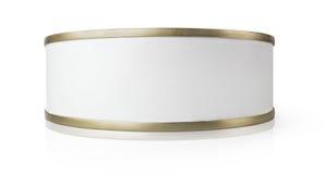 Pequeña lata aislada en blanco Imágenes de archivo libres de regalías