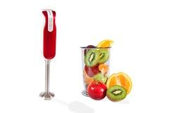Pequeña licuadora eléctrica y frutas frescas Imágenes de archivo libres de regalías