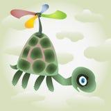 Pequeña mosca de la tortuga por la hélice coloreada Foto de archivo