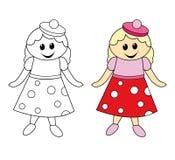 Pequeña muñeca linda stock de ilustración
