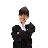 Pequeña muchacha asiática en traje de negocios fotografía de archivo libre de regalías
