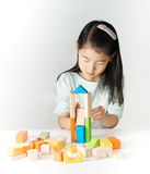 Pequeña muchacha asiática que juega bloques de madera coloridos Fotos de archivo libres de regalías