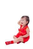 Pequeña muchacha asiática (tailandesa) en cheongsam del chino tradicional Fotos de archivo