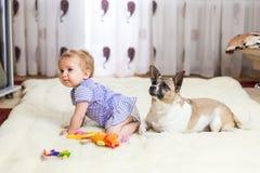 Pequeña muchacha caucásica divertida que el niño se sienta en casa en el piso en una alfombra ligera con el mejor amigo del perro imágenes de archivo libres de regalías