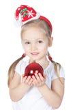 Pequeña muchacha de Santa con la decoración de la Navidad Imagen de archivo