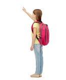 Pequeña muchacha del estudiante con el bolso de escuela de la parte posterior Foto de archivo