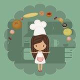 Pequeña muchacha del panadero stock de ilustración