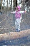 Pequeña muchacha en el bosque de la primavera Foto de archivo
