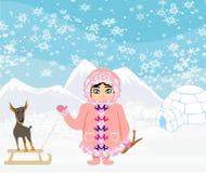 Pequeña muchacha esquimal y su perro Foto de archivo libre de regalías