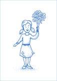 Pequeña muchacha feliz con las flores Línea ejemplo azul Diseño dibujado mano Foto de archivo libre de regalías