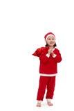 Pequeña muchacha feliz en el traje de santa fotos de archivo libres de regalías