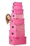 Pequeña muchacha linda con los rectángulos Imagen de archivo libre de regalías
