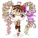 Pequeña muchacha linda de la historieta con el caramelo dulce Diseño de carácter Fotos de archivo libres de regalías