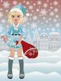 Pequeña muchacha linda de Papá Noel, vector Foto de archivo