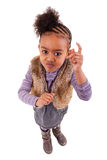 Pequeña muchacha negra linda enojada Imagenes de archivo