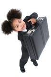 Pequeña mujer de negocios hermosa con la cartera Foto de archivo libre de regalías