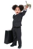 Pequeña mujer de negocios hermosa con la cartera y el puñado de MES imagen de archivo