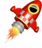 Pequeña nave roja del cohete con las llamas Foto de archivo