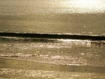 Pequeña onda y puesta del sol de oro Foto de archivo libre de regalías