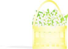 Pequeña pequeña cesta con los lirios del valle libre illustration