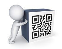 pequeña persona 3d y símbolo del código de QR. Foto de archivo