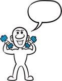 Pequeña persona del garabato - ejercitando con pesas de gimnasia ilustración del vector