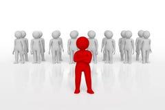 Pequeña persona el líder de un equipo asignado con color rojo representación 3d Fondo blanco aislado Imagenes de archivo