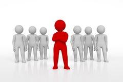 Pequeña persona el líder de un equipo asignado con color rojo representación 3d Fondo blanco aislado Fotos de archivo