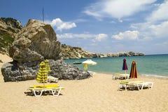 Pequeña playa en la isla de Rodas Fotografía de archivo libre de regalías