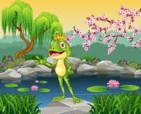 Pequeña presentación linda del príncipe de la rana ilustración del vector