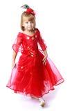 Pequeña princesa adorable en un rojo brillante largo Fotos de archivo libres de regalías